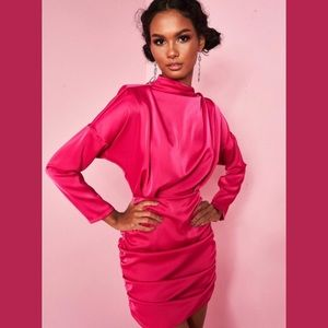 Pink High Neck Satin Mini Dress